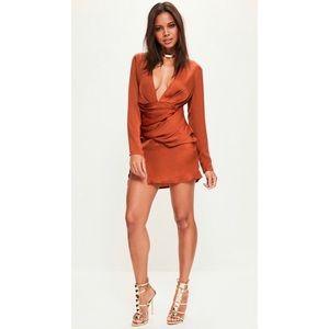 Missguided NWT! Orange Silky Dress